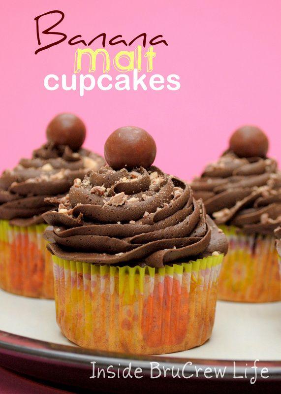 Banana Malt Cupcakes from http://www.insidebrucrewlife.com - banana cupcakes with malt candy and malt frosting #banana #cupcakes