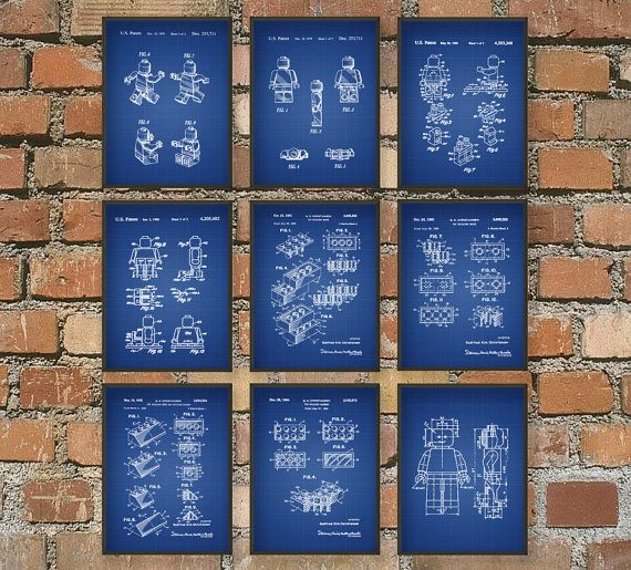 Lego Patent Wall Art Poster Set of 9  Kids Room by QuantumPrints