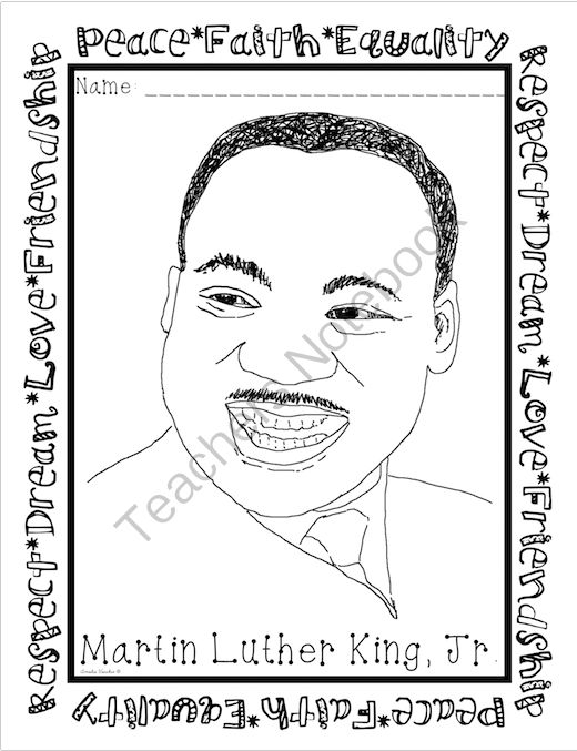 martin luther king coloring page freebie from ameliasteacherboutique on teachersnotebookcom