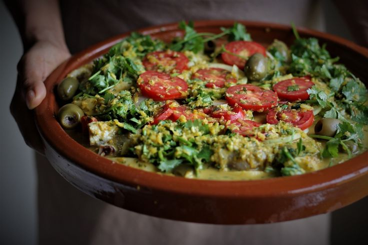 An authentic Moroccan Chicken Tagine with chermoula and preserved lemon.