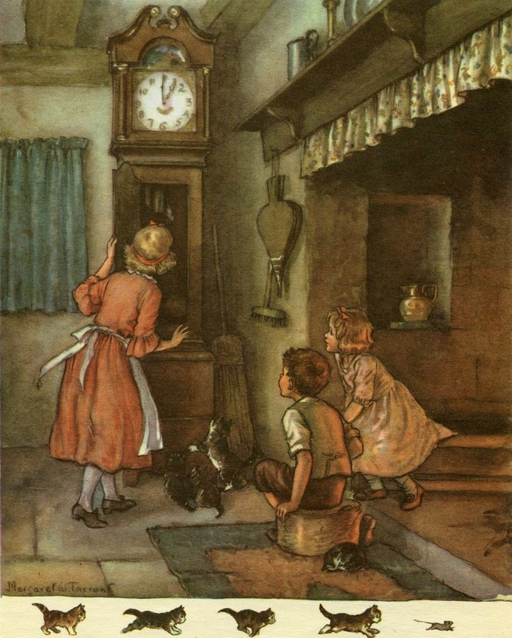 """Hickery Dickery Dock"" (nursery rhyme) illustration de Margaret Tarrant, vers 1940"