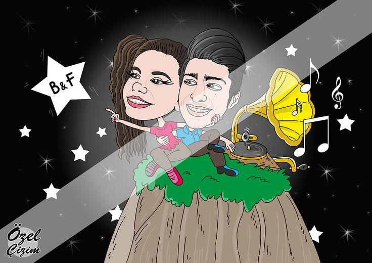 Sevgiliye Hediye Karikatür | Yıldızların Altında  #OzelCizim #hediye #karikatur #resim #sanat #portre #komik #komikhediye #hediyeler #hediyekarikatur #ask #love #yildiz #gramofon #muzik #sevgi #cift