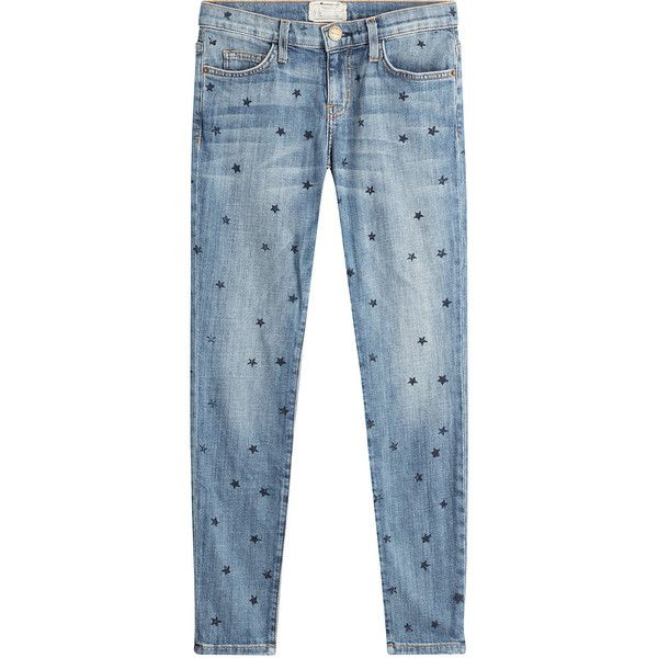 Current/Elliott Star Printed Skinny Jeans ($245) ❤ liked on Polyvore featuring jeans, pants, bottoms, blue, zip jeans, current elliott jeans, star jeans, skinny fit jeans and super skinny jeans