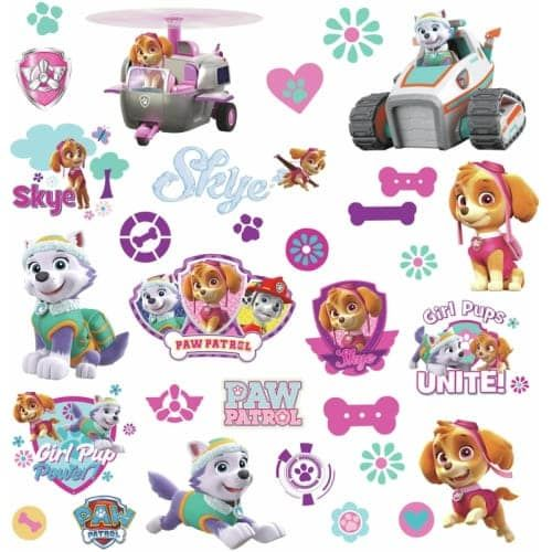 RoomMates RMK3124SCS Variable Sized - Paw Patrol Girl Pups - Self-Adhesive Repositionable Vinyl Wall Decal - Set of 30