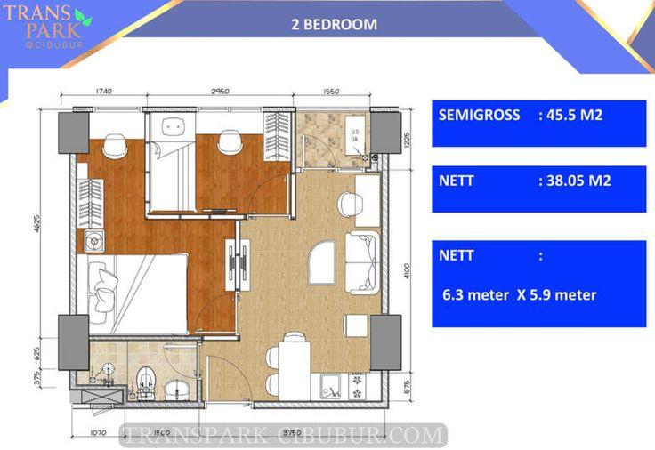 Denah apartemen TransPark Cibubur tipe 2 bedroom.
