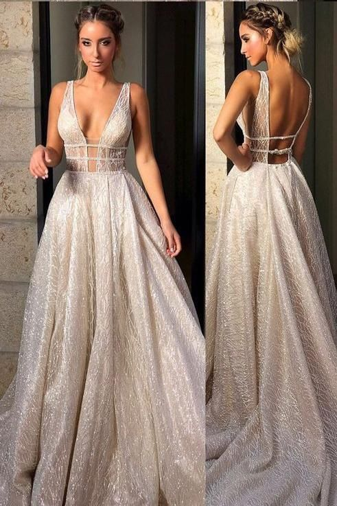 OKDRESSES offers Cheap Sparkly Deep V Neck Wedding Dress Bridal Gown 7be1a0155