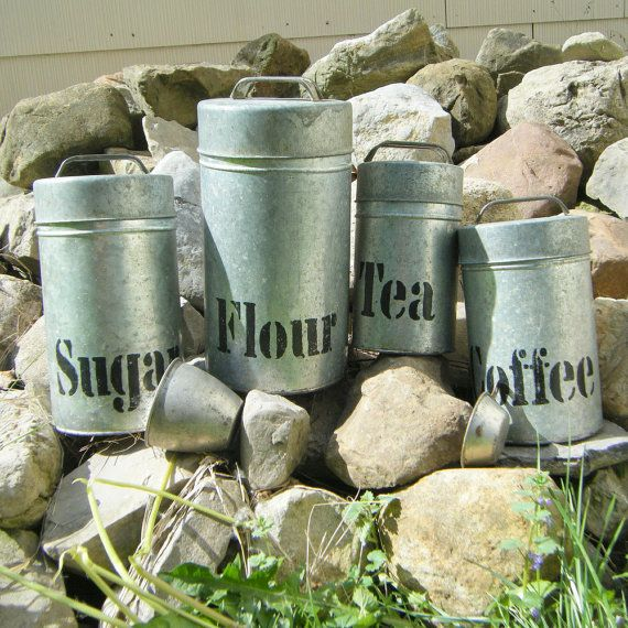 Tin kitchen canister sets rustic tin kitchen canister set country western chuck wagon style - Western canisters for kitchen ...