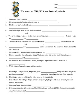 DNA, RNA, Protein Synthesis Worksheet / Study Guide | Dna ...