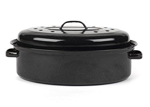 From 12.99 Russell Hobbs Cw11491ar Vitreous Enamel Self Basting Roaster With Lid 36 Cm Black