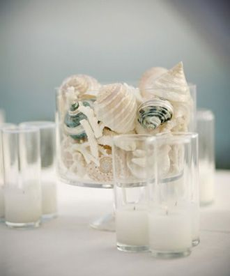 Center pieces with shells. So calming