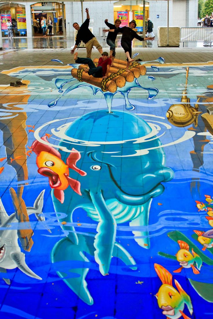 Summer Splash, an anamorphic streetpainting in St Helens, UK... By Planet Streetpainting