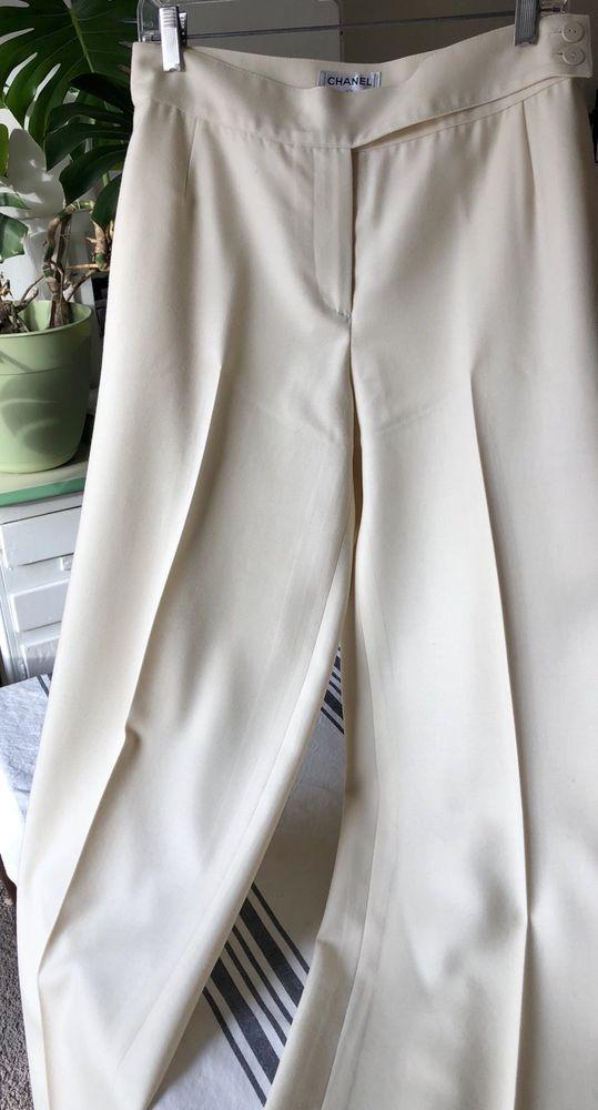 Chanel Size 44 White Wool Dress Pants US Size M-L #CHANEL #DressPants