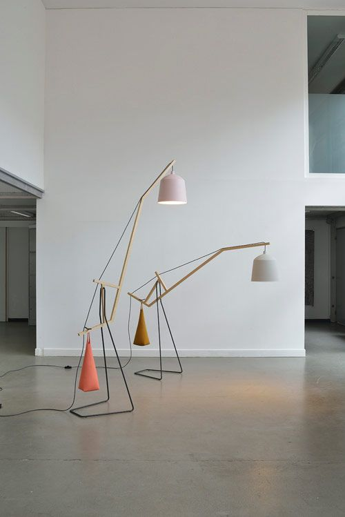 Aust & Amelung | Floor Lamps in different colors and positions, a minimal and distinct design.  | more inspiring images at http://contemporarylighting.eu