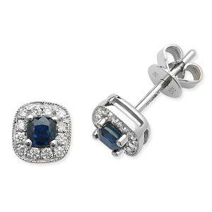 Round brilliant and cushion cut diamond and sapphire stud earrings 0.15ct #SPGreen #earrings #diamonds #whitegold #jewellery #ears #gemstone #sapphire