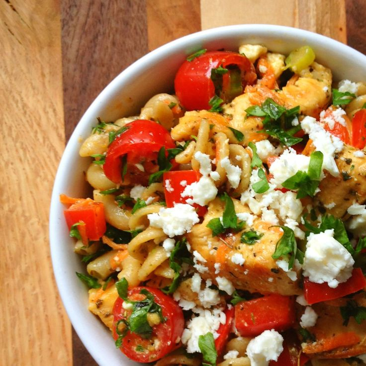 Healthy Greek Chicken Pasta Salad with Feta and Herbs Recipe