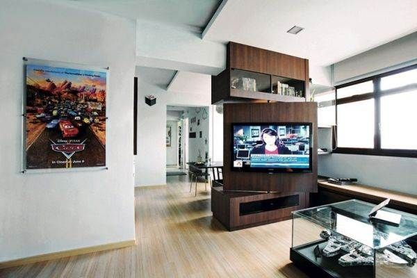 Great Concept of Swivel TV stand unit for Modern Home Interior Decoration : Cool Minimalsit Dark Brown Walnut Swivel TV Stand Unit On Modern Minimalist White Themed Apartment Designed With Natural Wooden Floor Then Decorated With Modern Grey Framed Pop Picture