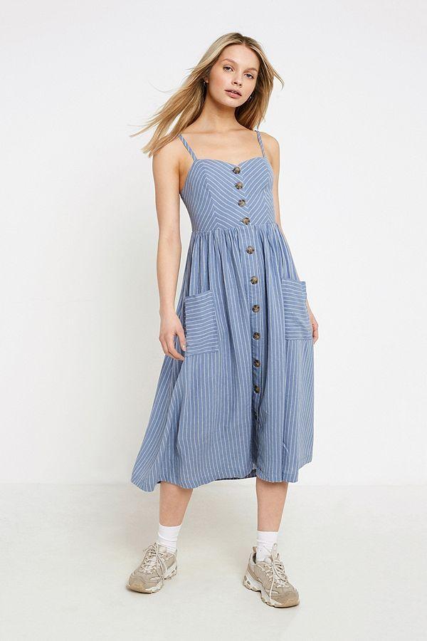 e067d3df465e Slide View: 1: UO Emilia Blue Striped Button-Through Midi Dress ...