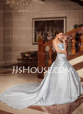 Gala-Japon Sweetheart Watteau Sleep Satijn Bruidsjurk met Roes Kant Kraalwerk Pailletten (002004224) - JJsHouse