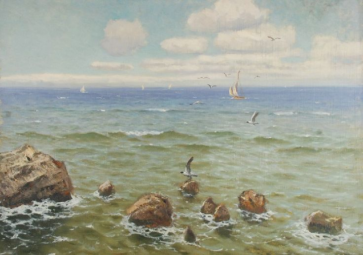Roman BRATKOWSKI (1869-1954)  Widok na morze olej, płyta, 50 x 70,5 cm;
