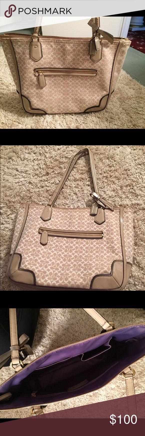 Coach Handbag Coach Handbag Beige exterior and purple interior of bag Never used, like brand new! Coach Bags Shoulder Bags