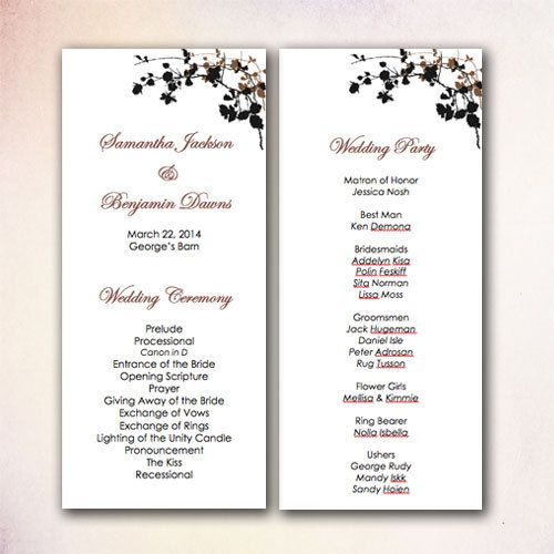 Best DIY Wedding Program Templates Instant Download Images On - Wedding invitation templates: wedding program template word