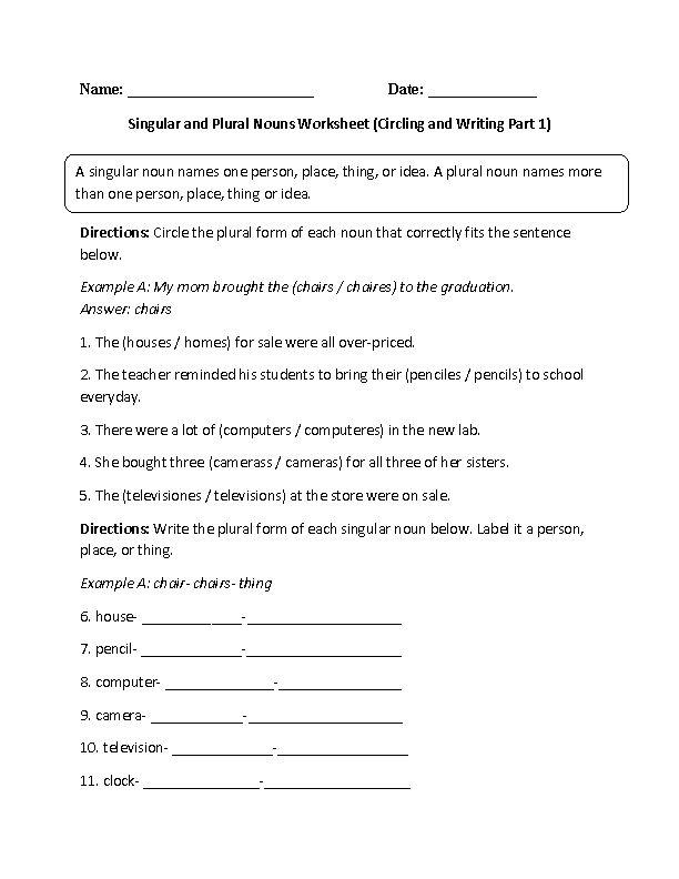 singular and plural nouns worksheet circling and writing
