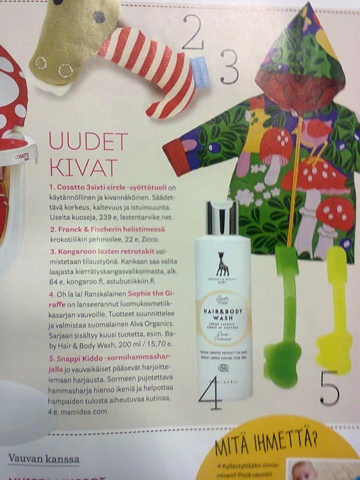 KongaRoon lasten retrotakki Vauva-lehdessä marraskuussa 2013.