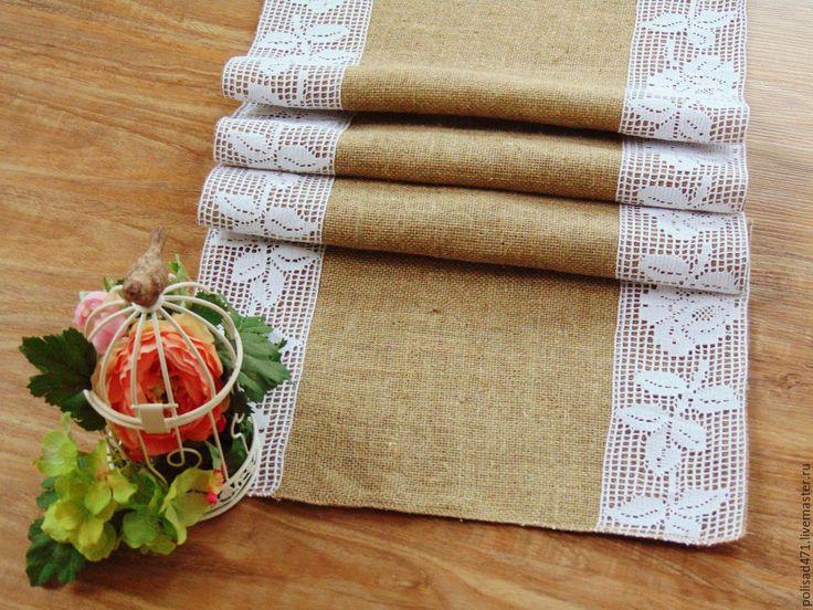 Купить Дорожка на стол из мешковины - комбинированный, винтажный стиль, винтажная дорожка, мешковина с кружевом