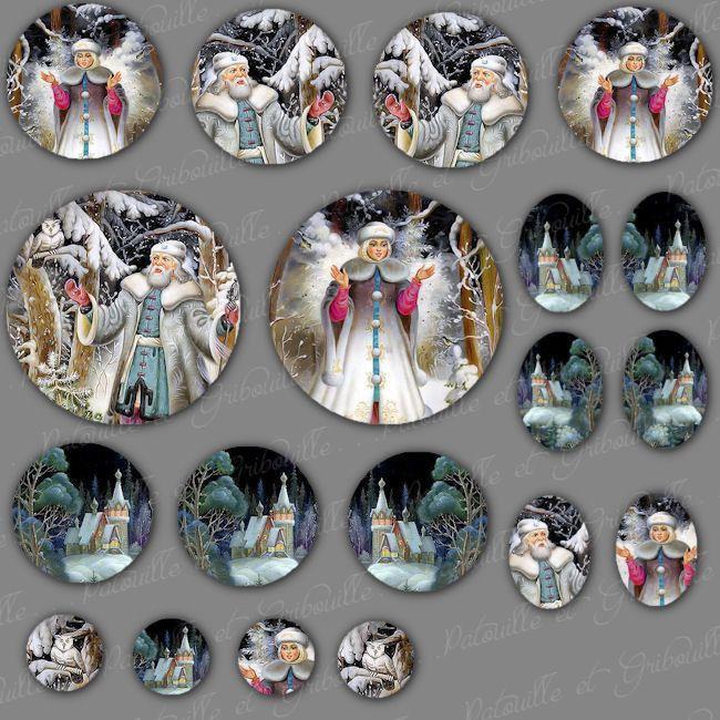 """images digitales pour cabochon thème contes russes """"hiver"""" : Cabochons, demi-perles par patouille-et-gribouille"""