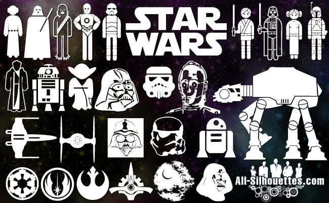 Star Wars vector clipart: Sith stalker, Padme Amidala, Obi-Wam Kenobi, Leiia, Luke, Yoda, R2-D2, Stormtrooper, C-3PO, Droids, AT-AT Imperial Walker, Star Wars Destroyer, Darth vader, death star, Chewbacca, Boba Fett, clones, General Grievous, Anakin Skywalker, Han Solo.