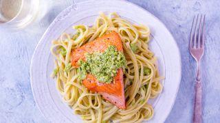 Salmon Linguine with Ramp Pesto