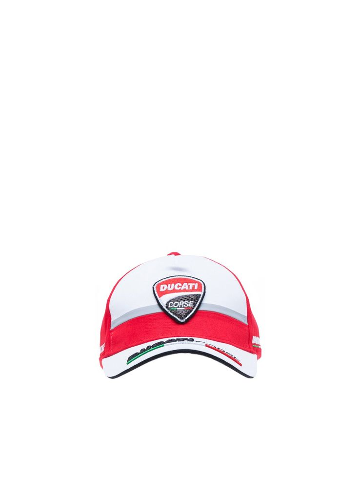 """#Ducati Corse #kids #cap from the 2017 collection. The lettering """"Ducati Corse"""" is embroidered in 3D on the white peak."""