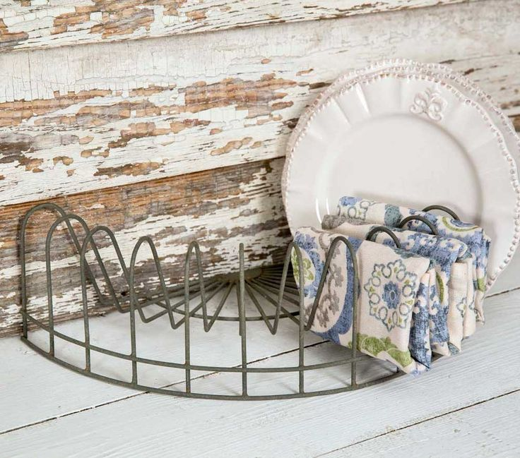 Vintage Style Half Round Wire Plate Drying Rack Weathered