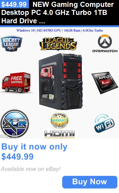 Computers Tablets Networking: New Gaming Computer Desktop Pc 4.0 Ghz Turbo 1Tb Hard Drive 16Gb Ram Fast BUY IT NOW ONLY: $449.99