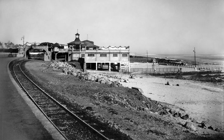 Sea Point Station c1901   According to an old map there were five 'stops' between Three Anchor Bay and the end of the line. This looks like the 'main'station where the present day swimming pool is.