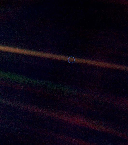Happy Birthday, Pale Blue Dot - Earth as photographed by Voyager from far out.