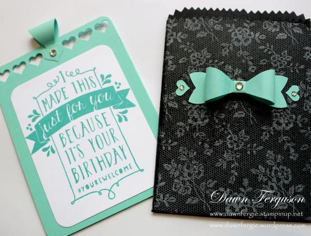 I've used the Mini Treat bag thinlit die to make a card and envelope. Stamp set from Stampin' Up Balloon Bash set and background is SU's I love lace
