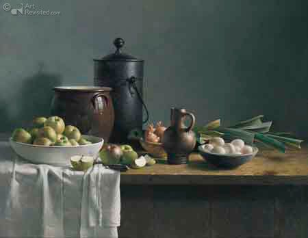 Still life with vegetables Henk Helmantel 122.0 x 158.0 cm - Oil on panel - 1985