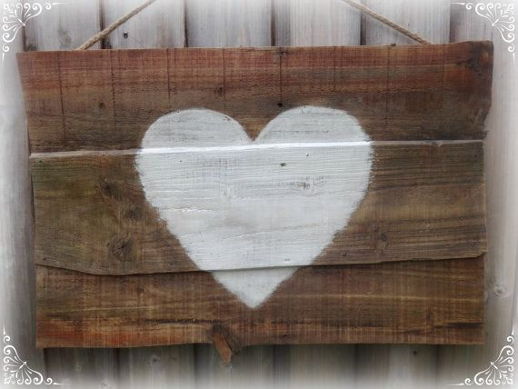 White heart on wooden plaque,Rustic white heart painting, recycled art