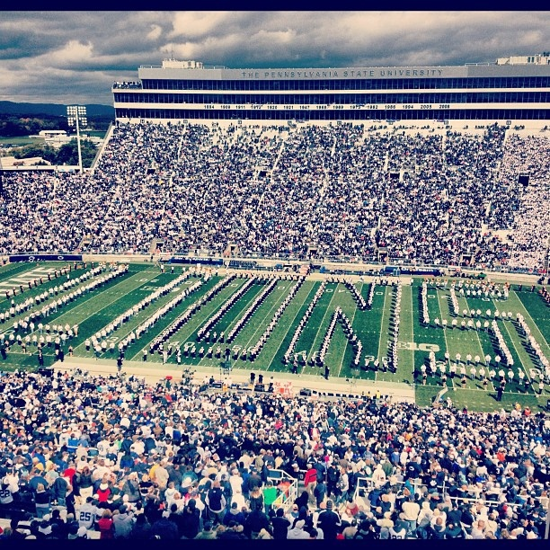 Homecoming at Penn State tradition, Blue Band and Alumni Band team up at halftime. by krmcguire