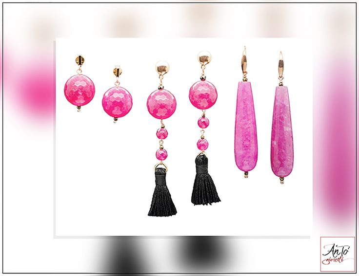 Pink earrings, handmade in Italy. Pink Agata Stone and Silver 925, Nichel free! Come to visit our Website: http://www.antogioielli.it/46-rosa?p=2