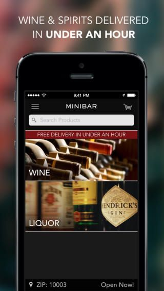 Minibar,  An iOS App Offering On-Demand Delivery of Wine and Liquor In New York City in Less Than 60 minutes