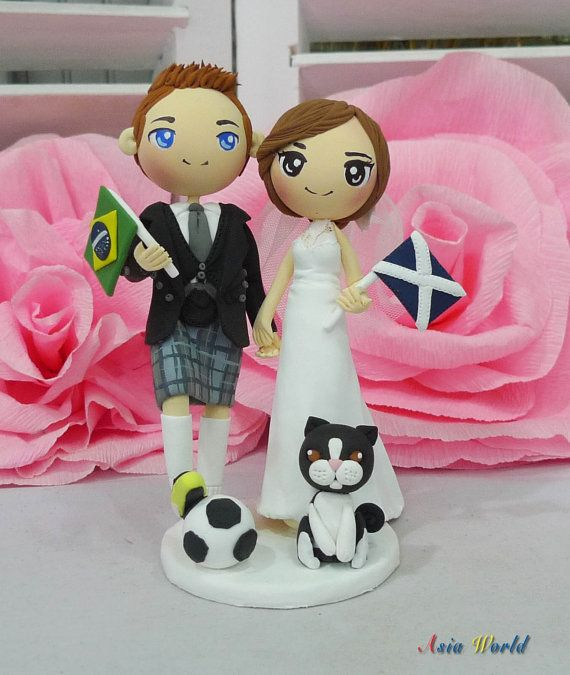 Wedding cake topper Brazil and Scotland clay doll with flags, groom in kilt clay miniature, engagement clay figurine decor, clay ring holder on Etsy, $87.50