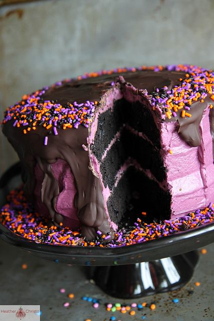 Black Velvet Cake Recipe ~ Say:  it also made a stunning focal point on my Halloween Table, but I think it would be a beautiful birthday cake too