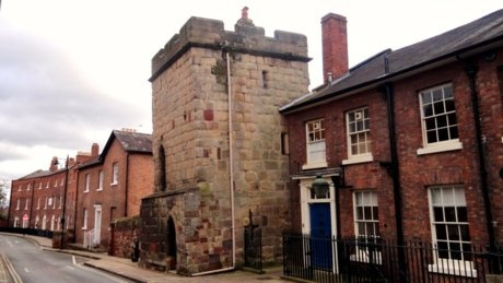 Town Walls Tower, Shrewsbury. This last remaining 14th-century watchtower sits on what were once the medieval defensive walls of Shrewsbury.