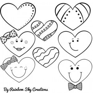 Mixed Bag of Hearts Clipart - 16 graphics colour and line art to use for teaching or creating resources which would love great with some funky hearts.