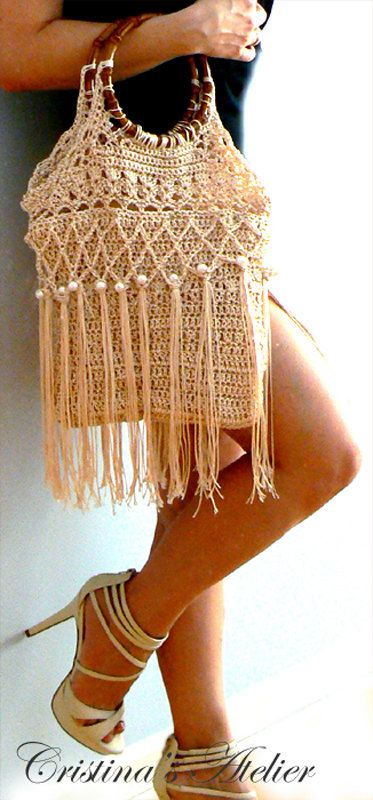 Amanda fringe crochet purse Handmade purse Vintage inspired pearls handbag. Chic, hippie crochet purse.Boho crochet purse. Retro beige purse on Etsy, $239.15 AUD