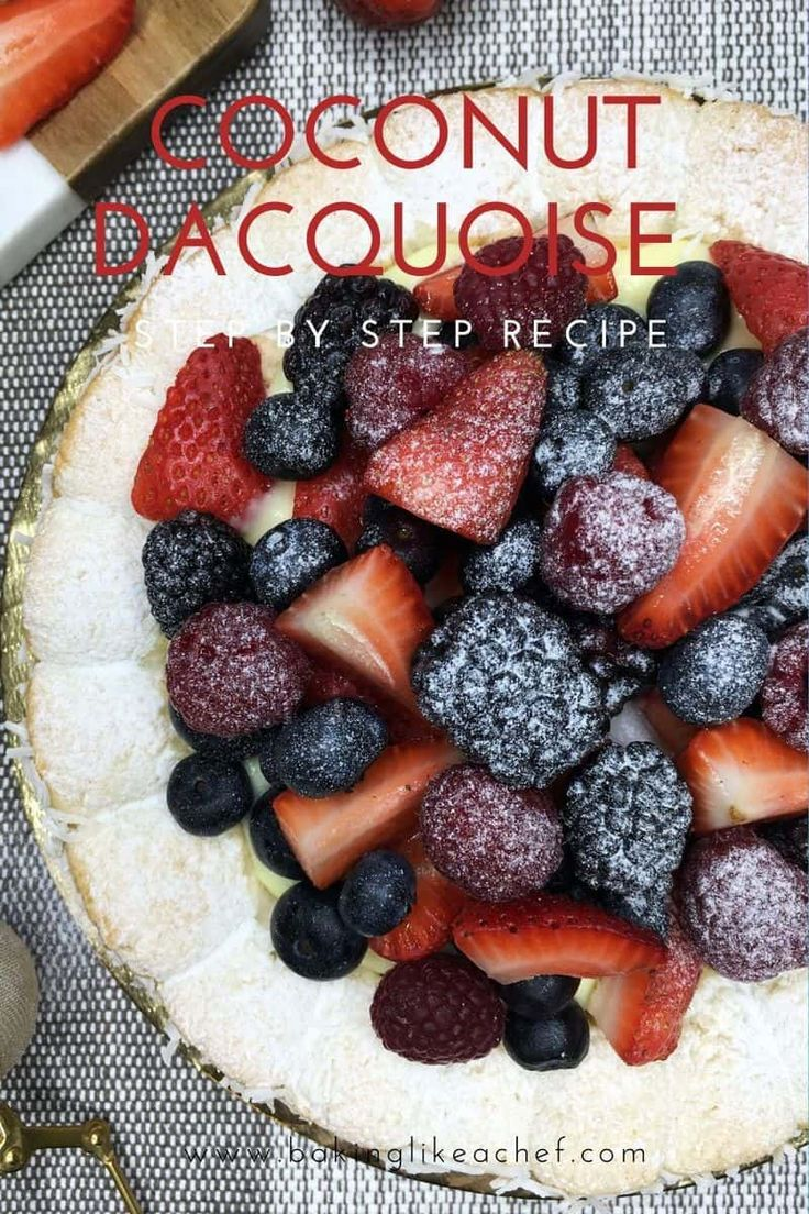 Follow this Coconut Dacquoise Cake recipe to make a fruity showstopper dessert full of summer flavors. Gorgeous and tast…