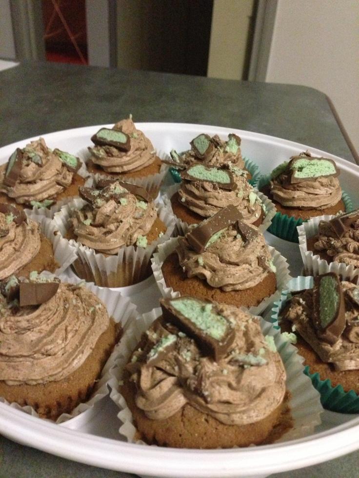 My aero bar choc mint cupcakes yum!