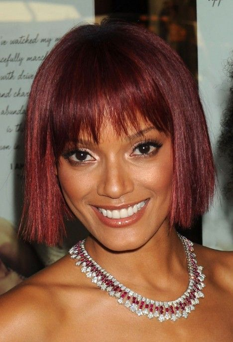 LIke how the line is broken up a bit on this.  Short Red Bob Haircut with Blunt Bangs - Bob Hairstyles